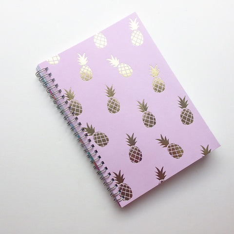 Large Coupon Organizer with 14 Pockets - Pre Printed Labels Included - Gold foil pineapples on pink