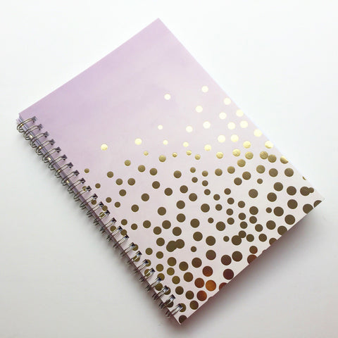 Large Coupon Organizer with 14 Pockets - Pre Printed Labels - Purple ombre with gold foil circles