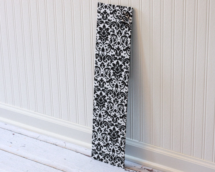 Ready to ship Magnet Board 6 inch x 24 inch Black and White Damask Fabric