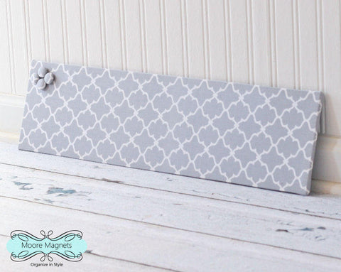 Ready to ship Magnet Board 6 inch x 24 inch Gray and White Quatrefoil Fabric