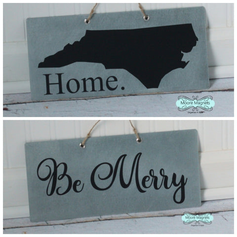Two Sided Be Merry and State Silhouette Magnet Board - Pick your state