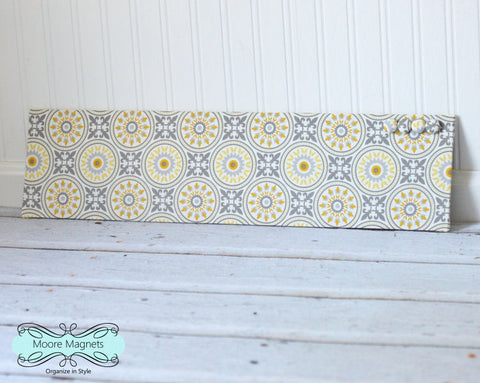 Ready to ship Magnet Board 6 inch x 24 inch Yellow and Gray Medallions Fabric