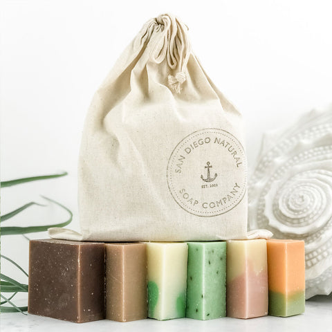 Organic Saltwater Bar Soap. Six bars in cloth gift bag.