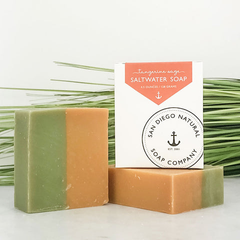 SALTWATER SOAP - Tangerine Sage : An uplifting blend of fresh Tangerine balanced with dried Coastal Sage and a hint of Tahitian Vanilla.