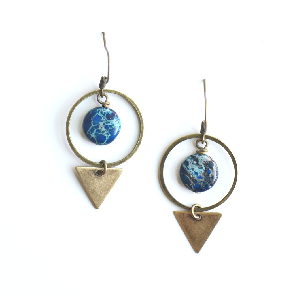 Jasper Hoop & Triangle Earrings