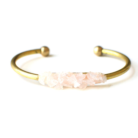 Crushed Rose Quartz Cuff Bracelet