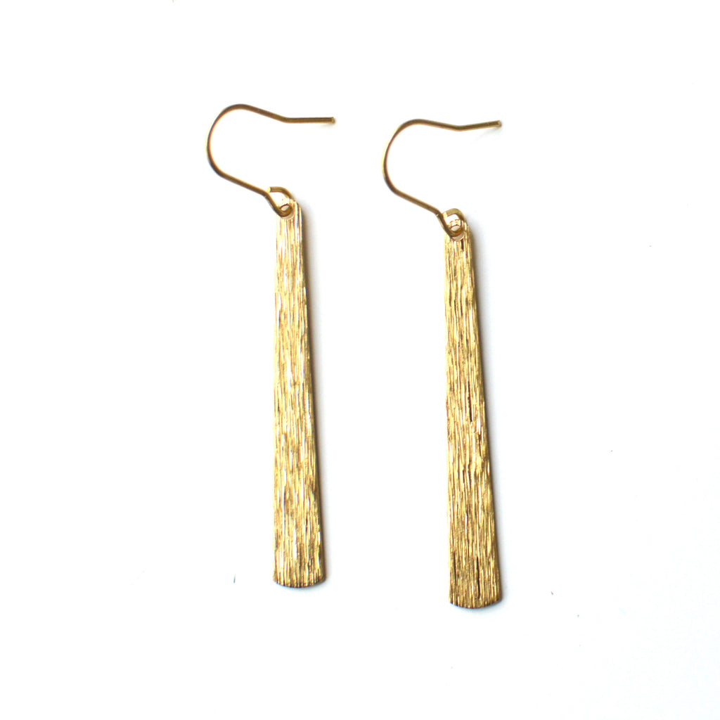 Textured Brass Drop Earrings