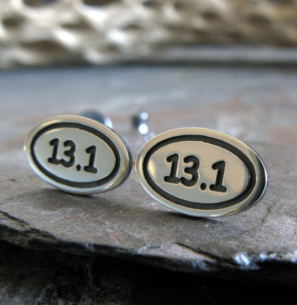 Marathon Runner 13.1 oval stud earrings handmae in sterling silver