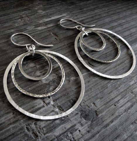 Pair of silver 3 circle dangle earrings