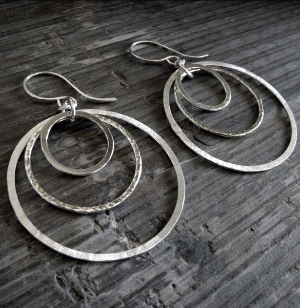 Hoop dangle earrings handmade from sterling silver
