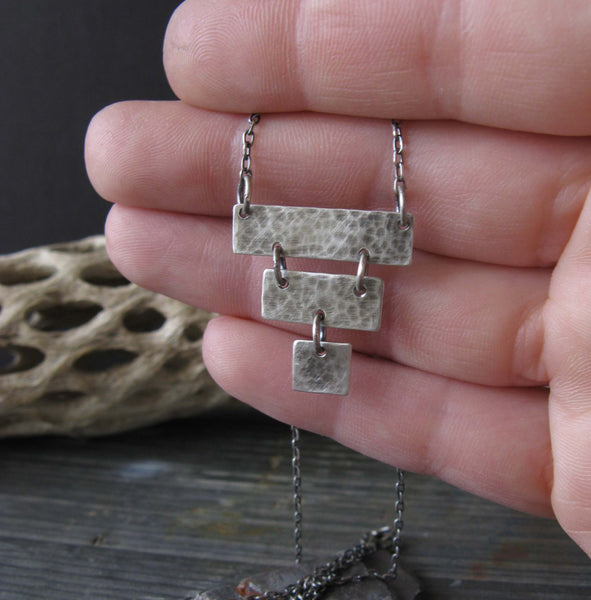 Rustic Pyramid Sterling silver pendant necklace. Boho jewelry handmade in the USA