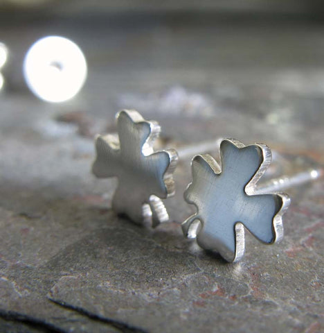 4 leaf clover good luck stud earrings. St Patricks Day jewelry in sterling silver or 14k gold.