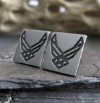 Air Force Military sterling silver stud earrings.  Handmade in the USA.