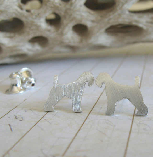 Airedale terrier dog stud earrings brushed sterling silver