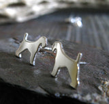 Silver Airedale Tarrier Earrings