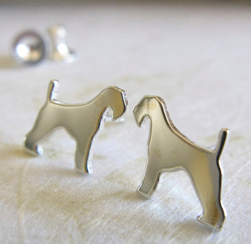 Airedale Terrier Sterling Silver Dog Silhouette Earrings