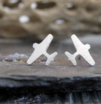 Silver Airplane Earrings