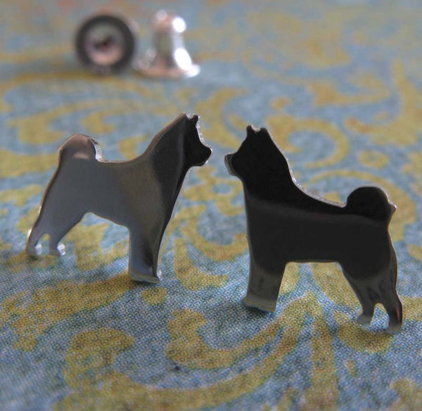 Akita sterling silver or 14k gold earrings. Dog Silhouette Stud jewelry