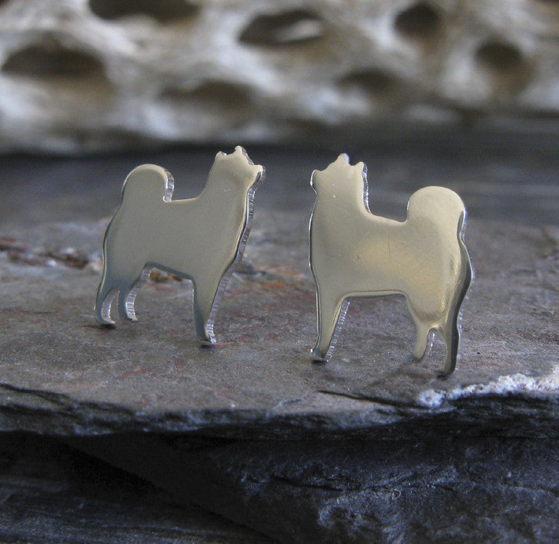 Alaskan Malamute earrings dog silhouette sterling silver jewelry