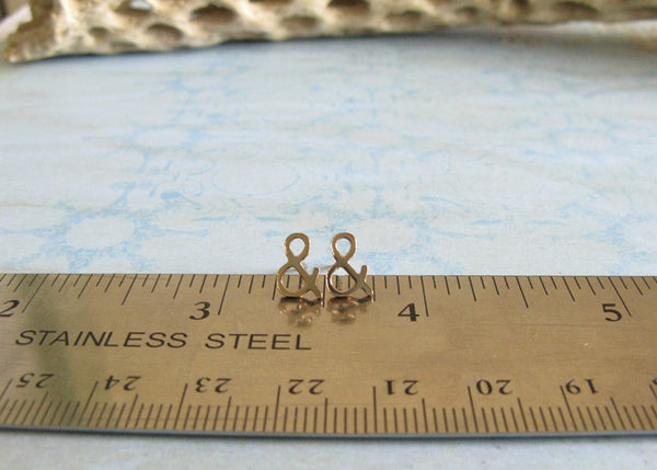 Ampersand Stud Earrings Sterling Silver or Gold