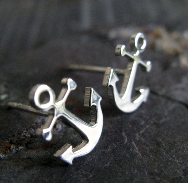 Anchor Post Earrings Sterling Silver or 14k Gold