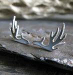 Antler deer rack earrings.  Handmade sterling silver or 14k gold studs.