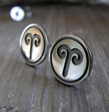 Aries zodiac stud earrings handmade in sterling silver