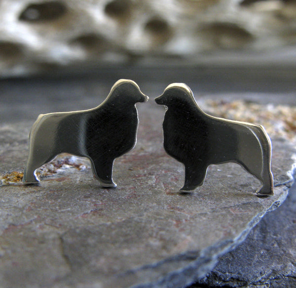 Australian Shepherd earrings. Sterling Silver or 14k gold dog silhouette jewelry
