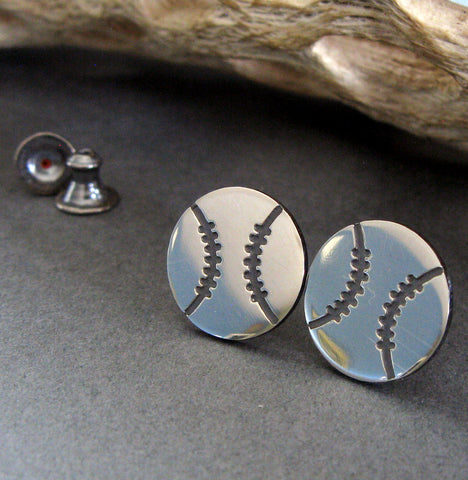 Baseball softball stud earrings handmade from sterling silver