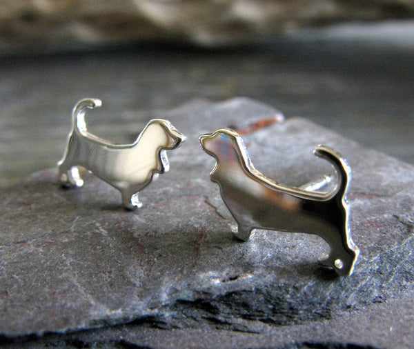 Basset Hound Dog Sterling Silver Post Earrings