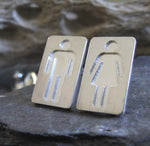 Restroom People Silhouette Stud Earrings in Sterling Silver