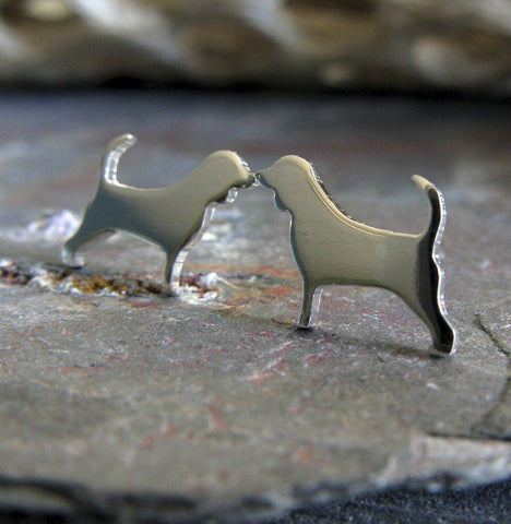 Beagle dog post earrings in sterling silver or 14k gold