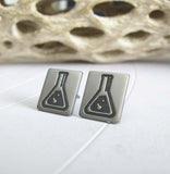 Science beaker sterling studs earrings. Handmade geek jewelry for her.