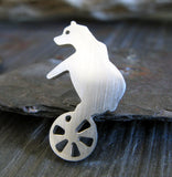 Bear on bike sterling silver tie tack