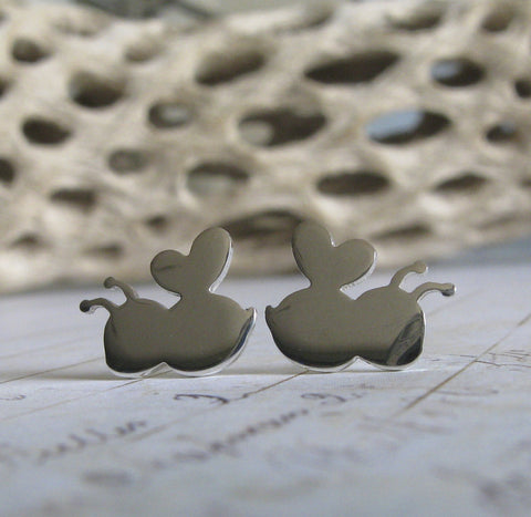 Bee stud earrings handmade in sterling silver or 14k gold
