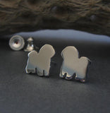 Bichon Frise tiny dog stud earrings. Handcrafted in sterling silver or 14k gold.