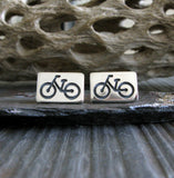 Bike stud earrings. Sterling silver handmade jewelry