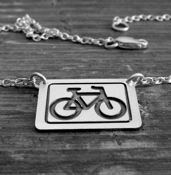 Bike necklace engraved in sterling silver. Dainty bicycle jewelry