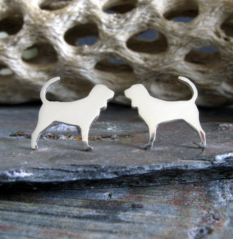Bloodhound dog stud earrings handmade in sterling silver and 14k gold