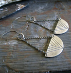 Boho chevron half circle sterling silver earrings