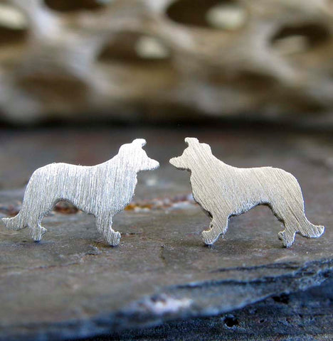 Border Collie smart dog tiny earrings. Handmade in sterling silver or 14k gold.