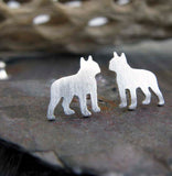 Boston Terrier dog sterling silver earrings