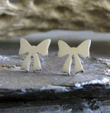 Bow stud earrings handmade in sterling silver or 14k gold
