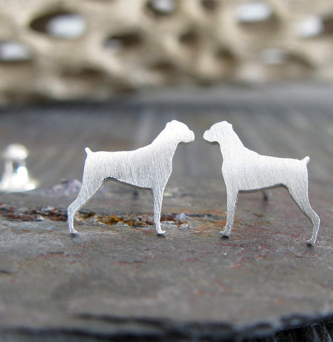 Boxer dog tiny little stud earrings handmade in sterling silver or 14k gold