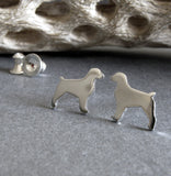 Brittany dog stud earrings tiny sterling silver or 14k gold posts