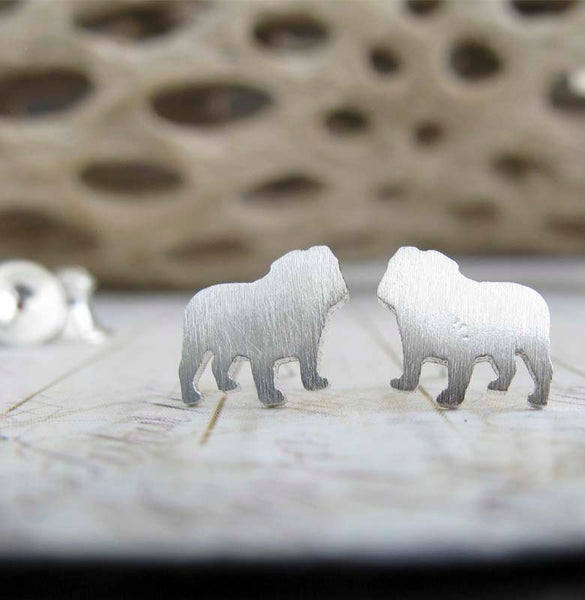 English Bulldog Dog Stud Earrings