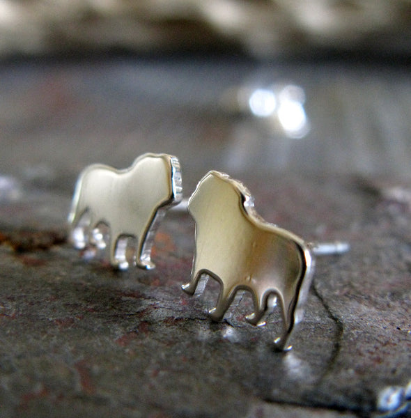 English Bulldog Silhouette Earrings in Sterling Silver
