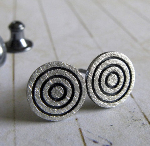 Bullseye Concentric Circle Sterling Silver Earrings