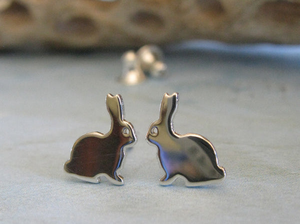 Bunny Rabbit Easter Sterling Silver Stud Earrings