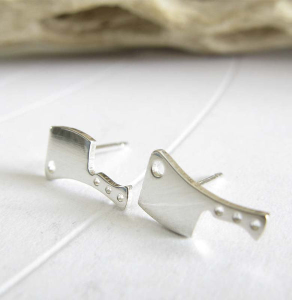 Butcher Knife stud earrings. Handmade in sterling silver or 14k gold